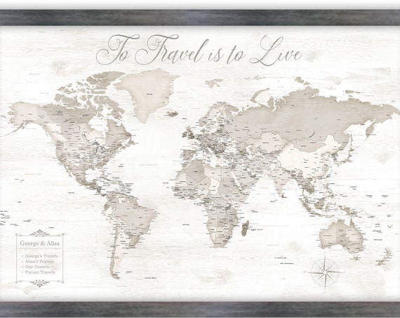 Framed Personalized World Map with Legend. Neutral Colour Wall Map. Perfect Anniversary Gift for Husband. To Travel is to Live or own text.