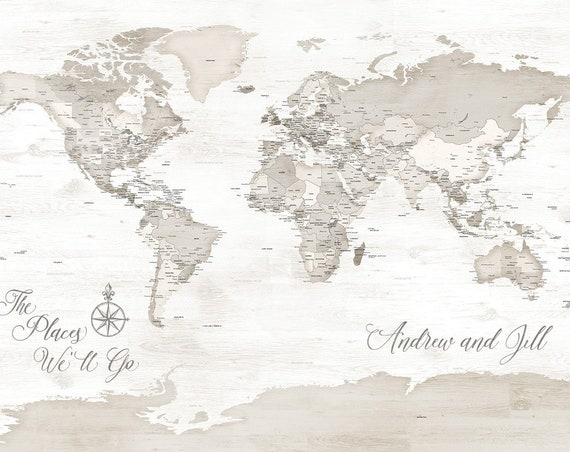 Detailed World Map ideal for pinning travel, Add Custom Message, Names and Anniversary Date, Ideal for Anniversary Gift for Husband or Wife
