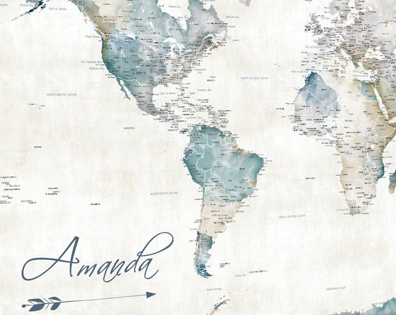 Wanderlust World Map for Single Traveler or Family World Map, Add Own Personalized Map Title, Gift for Homecoming, Boyfriend Gift, Pin map