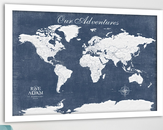 World map, Muted tones, Large world map, Map with cities, City labels, Blue & Gray world map, Masculine wall art,  Man Cave Print, map print