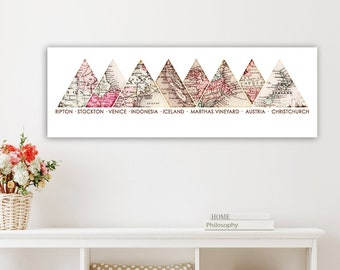 Personalized World Adventure Maps, Customized Anniversary Gift for Girlfriend, Couple Wedding Gifts, Housewarming Old Maps Mountain wall Art