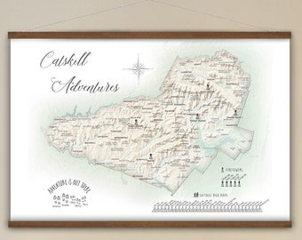 Catskills Map, RV Travel Map, Camping Wall Art, Firetower Map Locations, Hiking Canvas Map, Gift for Retirement, New York State Adventures