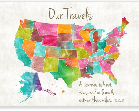 Personalised Large USA Map. Coloful map of the USA, custom quote U.S. map, Personalised map, Push pin USA map, Heart Map, Travel Map ideas,