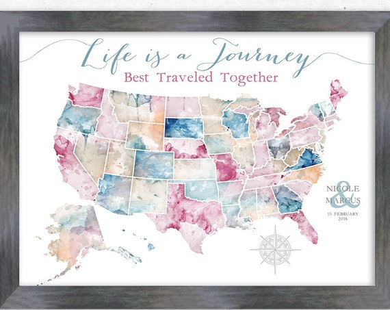 Canvas USA map or Framed us travels map, Adventure Gift for Sister, Family Adventure Map, Push Pin USA map, RV decor Wall Art,Digital Option