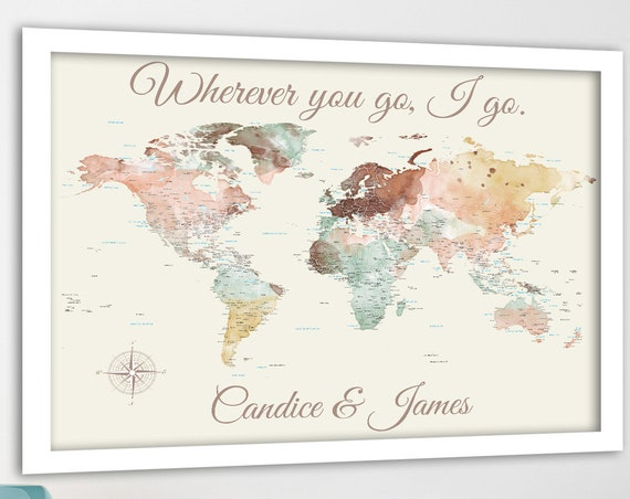 Romantic Personalized World Map Print, Customize the message, 1st anniversary gift for Husband, Paper Anniversary for wife, World Travels