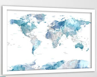 Watercolor world map etsy popular items for watercolor world map gumiabroncs Choice Image