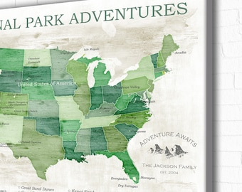 Framed National Parks Travel Map with Pins 21x31 Push Pin