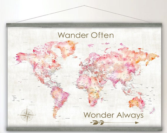 Coral Pink Gray Canvas Wall Map Art Print, Girls Nursery Map of the World, Canvas Map of The World, Large Travel Map, Wander Often