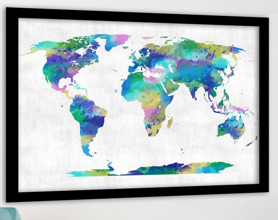 Purple and Teal Print, Gold world map, Watercolor world map, PushPin map, Travel map, Personalized Map, Anniversary Idea, Digital World Map