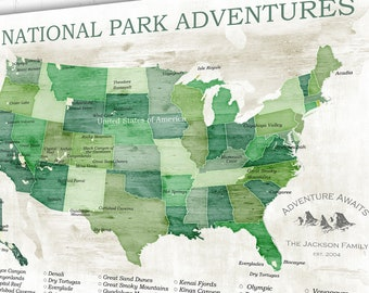 National park push pin map | Etsy