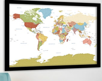 large world map modern detailed map art political country borders capital cities named vacation travel map customized anniversary gift
