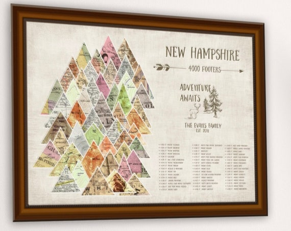 New Hampshire Peaks Push Pin Map, NH 4000 Footer Hike Checklist, New England PeakBagging, 4000 ft Mountain Peaks Anniversary Hiking Map Gift