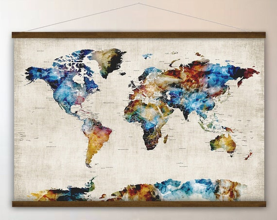 Map of the World, Large Wall Map with Cities, Hanging Canvas Map Large Dark Wall Art, House Warming Art Gift Personalized Map for New Office