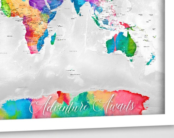 Adventure Awaits Map for Teenager, Active Family Map, Planning Travel Pin Map, Bright world map Canvas, Poster or Digital World map Download