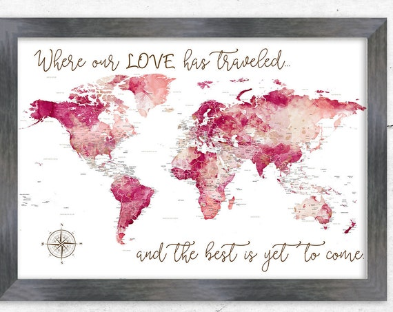Instant Download Bridal Shower Gift for Travelers, Military Couple World Map for Pins, Art Gift Retirement Print. Where Our Love Has Travel