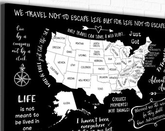 Canvas USA map with Travel Inspiration, Suitable as Coloring USA map to Mark Travels Fun USA map for teen, Dorm wall art Decor Black & White