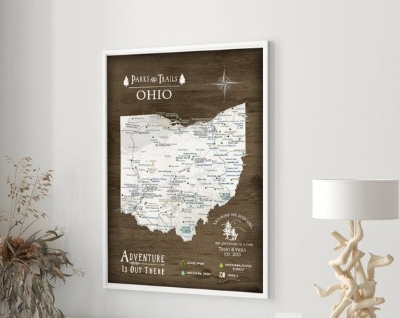 Ohio State Map Office Wall Art, Gift for Hiker, Active outdoor Adventures in Ohio, State Park List - Optional Personalization Push Pin Map