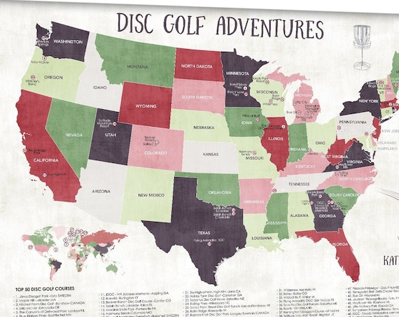 Disc Golf Courses Top Courses Map of USA and World, Sporty Personalized Gift for Disc Golfer Canvas, Disc Golfing Map, Push Pin Map Print