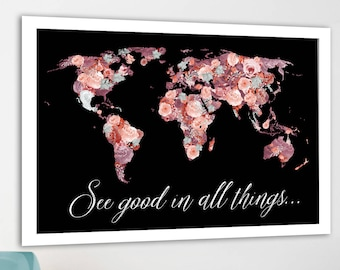 Pretty World map, Floral world map, Red and black print, World map poster, Map with meaningful quote, motivational message, Flower Art print