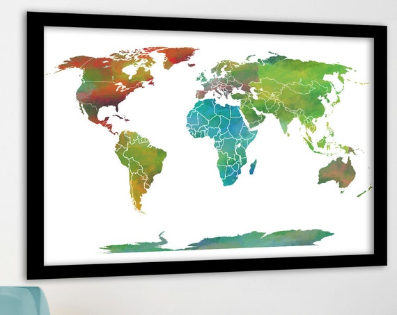 Educational Large World Map, Country Borders, Country Labels optional, Printable Digital Jpeg File OR PUSH PIN map, Canvas Travel Map Print