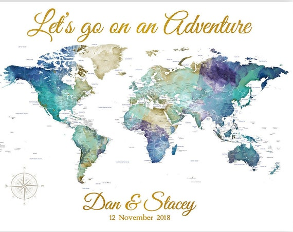 Perfect Anniversary Gift for Husband or Wife, Wedding Gift Couple, Travel themed, Push Pin Map Print, Canvas, Travelling Family Adventures