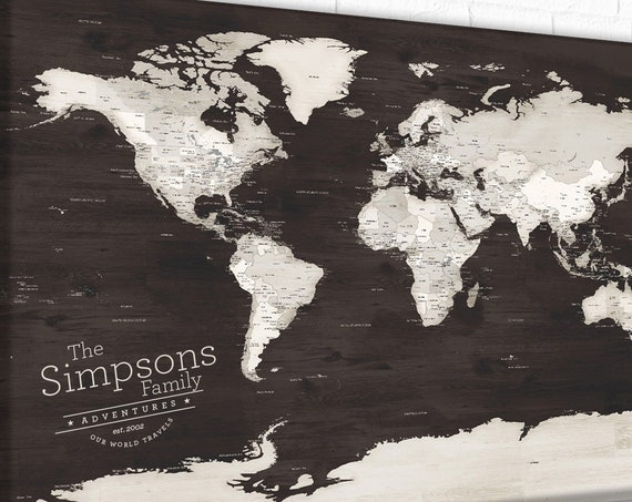Map of the world, Rustic World map push pin Wood Timber Grain, Soft Neutral Colour World Map to Scratch Off your Bucket list, Canvas Option