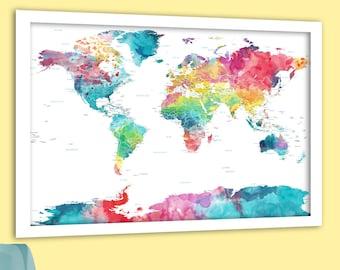 Pretty world map art | Etsy