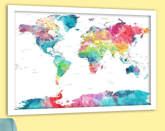 Pretty World Map, Pink and Blue, Large Colorful Wall Art,  Personalized World Map, Push Pin World Map, Large Canvas, Nursery Watercolor map