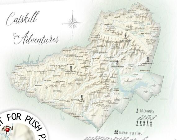Catskill High Peaks Checklist, Hikers Map Print, Catskills Bucket List, Catskill Park Mountain Map of Firetowers Push Pin Map Canvas Gift