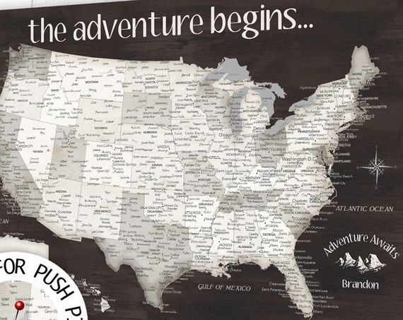 USA Push Pin map for traveler US with Legend, Pin Map, Canvas or Print, Professional Office Wall Art Map, Personalize ANY title or names