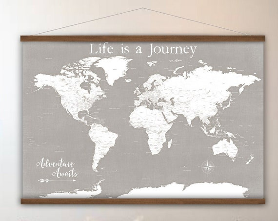 Life is a Journey, Detailed Travel World Map Canvas, Office Wall Art, Adventure Awaits Map of the World, Neutral Executive Large Wall Print