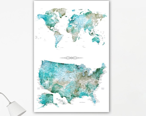 Two maps in one print. USA and World Pin Maps, Gift for Husband, Housewarming gift for military family. Canvas Travel Pin map for Traveler