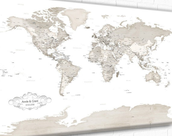 Cream Sandy Beige World map, Detailed world map ideal for pinning travels or large wall art,  Motif Own Custom Wording or Quote to customise