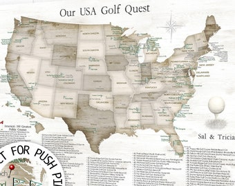 Golf gift  for Husband, Wall Map of USA golf Courses. Top 100 Public Golf course in USA, Mark off Golfing Bucket List, Golf Push Pin map