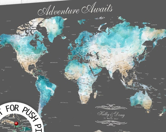 Traveling Family, Adventure Awaits Map, Push Pin Map Key, Personalized Map Gift, Large Wall Map, Canvas Map, Print, Framed, Pin Map Wall Art