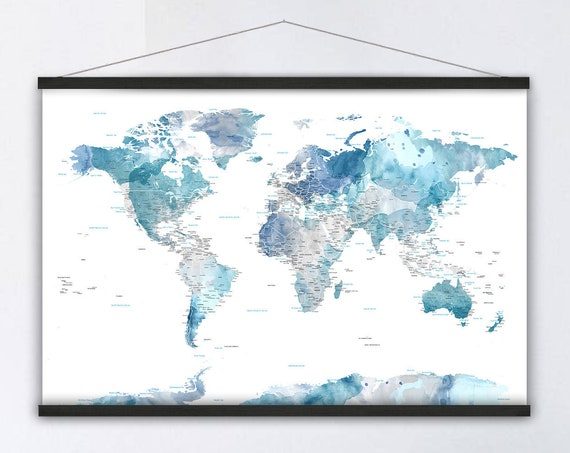 Modern Office Wall Art, Blue and White Watercolor World Map, Canvas of World Map, Detailed Map of the World, Anniversary Gift for Parents