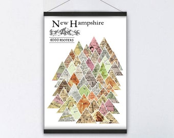 New Hampshire 4000 footers Hanging Canvas Adventure New England NH Map Print, Mountain Hiking, Outdoor Hiker Gift, Personalized Dad Gift