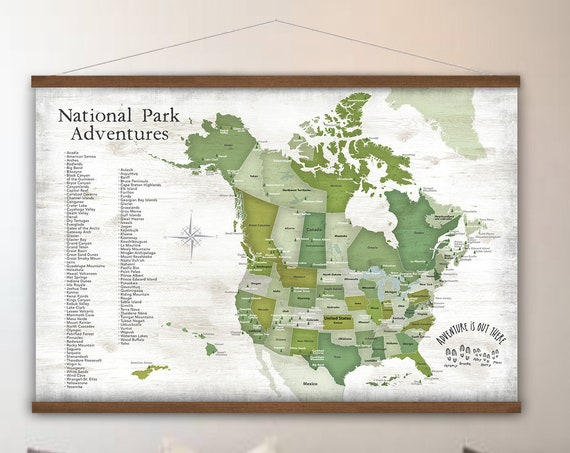 Camper Trip National Park Map, USA and Canada, Parks of North America, Personalization Farmhouse Wall Map, Scenic Road Trip American Parks