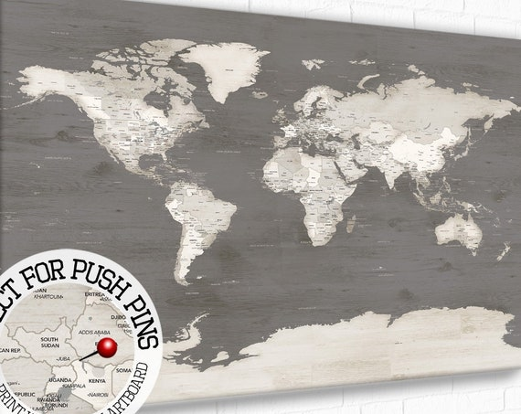 Personalize World Map Idea for Gift, World Map Gray White Wash Timber Look, Pin Map For Traveller, Neutral Framed Wall Art Map Print Option