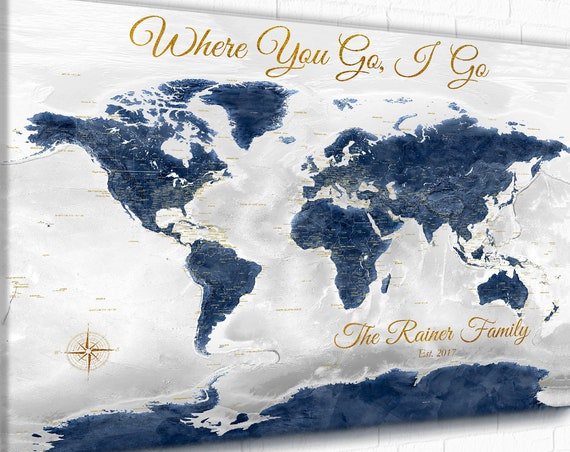 World Map with Romantic Quote, Personalized Anniversary, Push Pin Travel Map, Wedding Gift Print with Names, Wedding Couple Travel Art Map