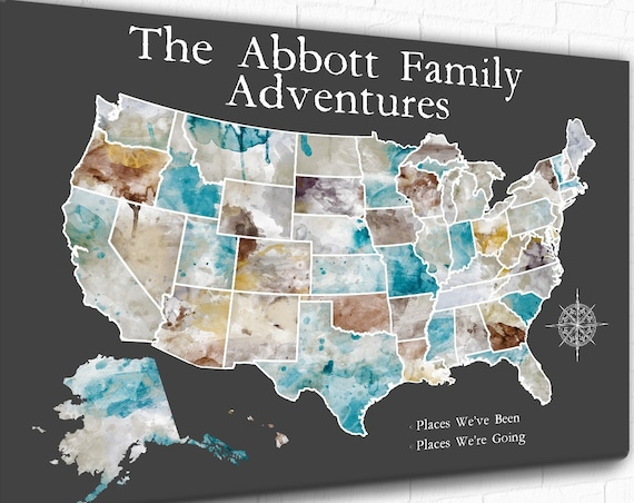 Personalized Travel USA Map Foam board Ideal for Push Pins or Printed Poster or Canvas. Map of America Gift, Adventure Travel for Family