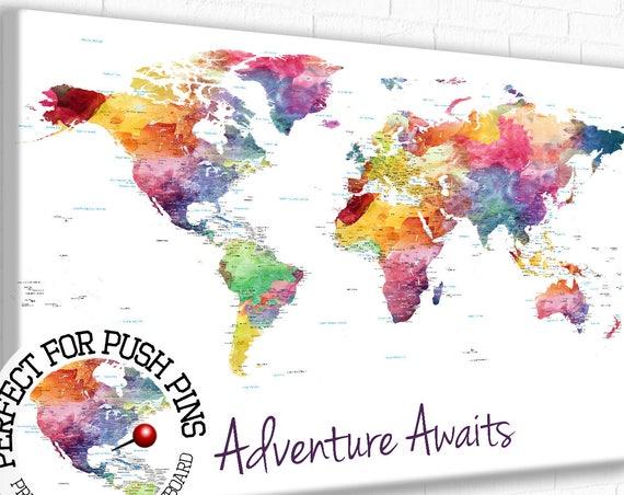 Adventure Awaits World Map, Push Pin World Map, Watercolor World map, push pin map, Foam board mounted map of world, Large World Map Canvas
