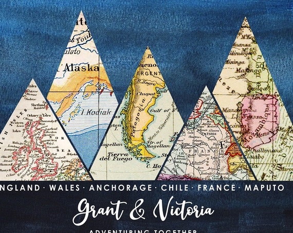 Custom Travel Poster, Wedding & Anniversary Gift, Retirement Travel Themed Gift, Vintage Map Mountain Adventure Map Canvas, Print or Framed.