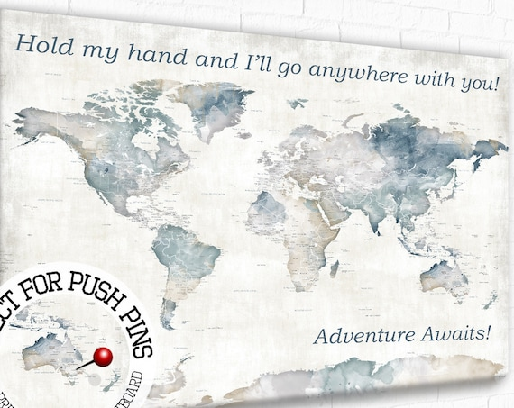 Anniversary Gift for Husband, Wedding Gift for Groom, Romantic Wording on World map with Quote, Custom Text, Large Adventure Travel Pin map
