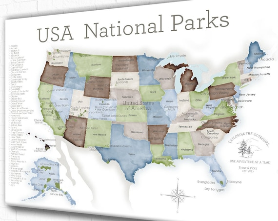 Nature Lover National Park Map of USA, Adventure Map for Couple Who Enjoy the Outdoors, Gift for Hiker, Rock Climbing Pin Map, Family Camp