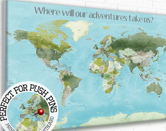 Push Pin World Map with legend, Customised World map, World map with Message, World map with Key, Personalised message, Map with quote, Text