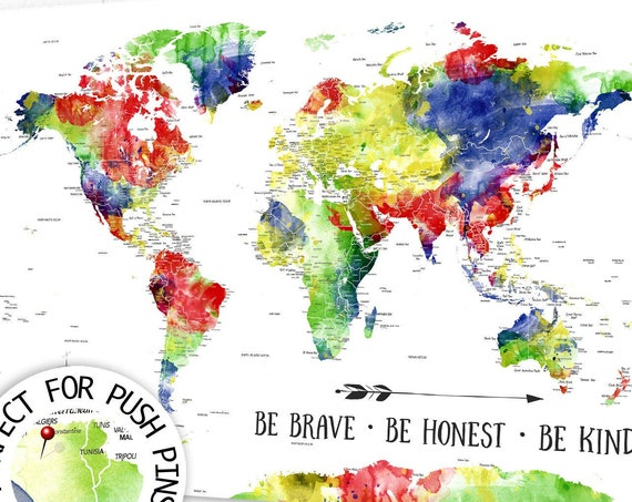 Brightly Colored World Map, Push Pin Map of the World Primary Colors, Large Detailed Map, Canvas Poster or Framed Map for Kids Map-Playroom