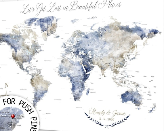 Travel Dreams and Adventures to be Scratched off your Bucket List with World Map, Personalized Gift for Wedding Couple or Single Adventurer