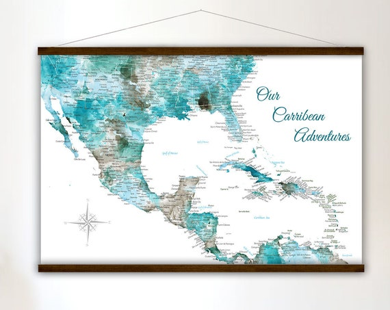 Large Caribbean Island Map - Canvas
