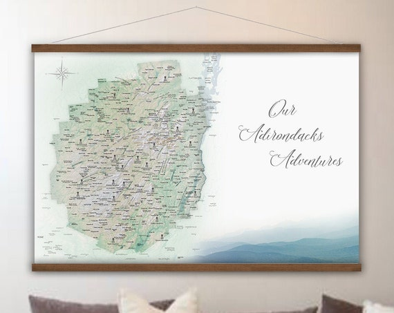 Canvas Adirondack Park Map of the Adirondacks map for Hikers, Outdoor New York Adventure map, Personalized Peak Bagging Mountain Map Print